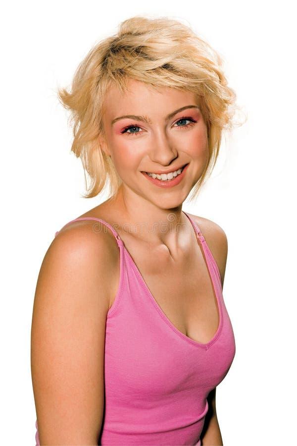 różowej koszula uśmiechnięta nastoletnia kobieta fotografia royalty free