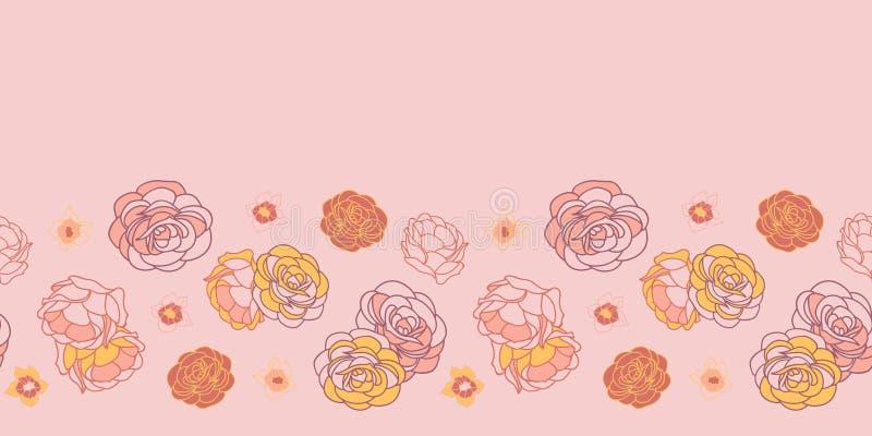 Różowej kwitnienie pustyni powtórki wzoru kaktusowy bezszwowy wektorowy tło ilustracji