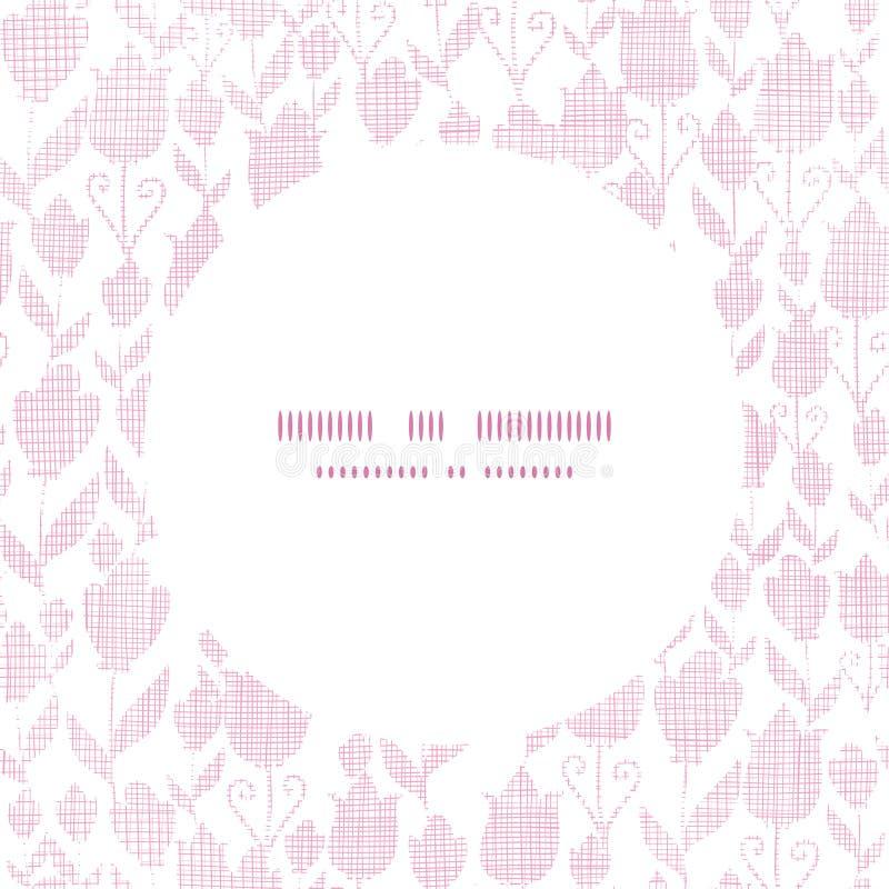 Różowej tekstylnej tulipan tekstury ramy round wzór ilustracja wektor