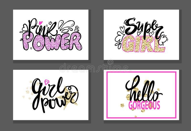 Różowej władzy Super dziewczyny graffiti Wspaniali majchery ilustracja wektor
