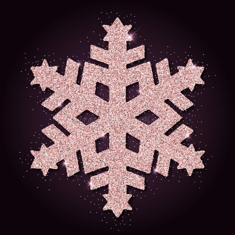 Różowej złotej błyskotliwości boski płatek śniegu ilustracji
