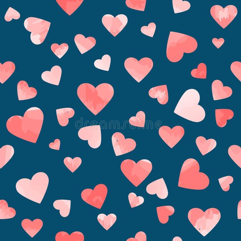 Różowi akwareli serca na błękitnym tle kolorowych deseniowych planowanymi różnych możliwych wektora royalty ilustracja