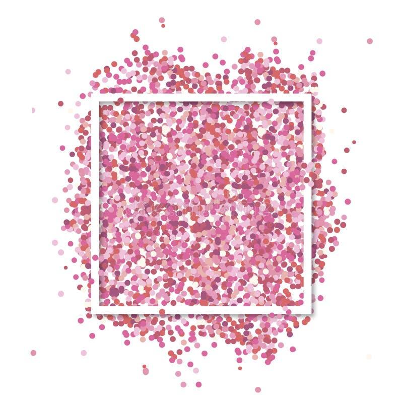 Różowi confetti wewnątrz w białego kwadrata ramie Romantyczny walentynki tło z teksta miejscem royalty ilustracja