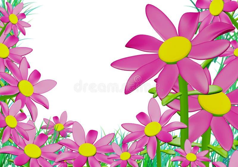 Różowi Dzicy kwiaty Wokoło Grasses_3d odpłacają się royalty ilustracja