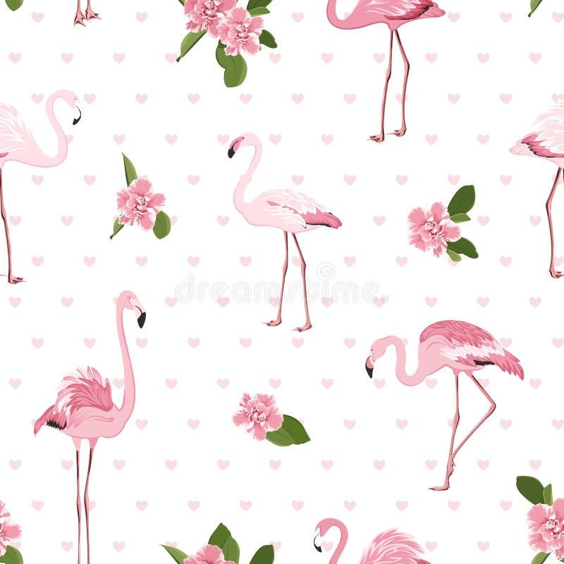 Różowi egzotyczni flamingów ptaki, tropikalni camelia kwiaty, zieleń opuszczają serca na białym tle deseniowy bezszwowy elegancki royalty ilustracja