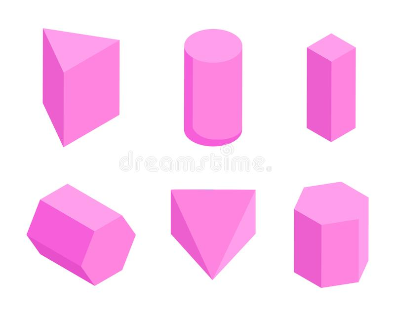 Różowi graniastosłupy, set Sześć Geometrycznych postaci sztandarów royalty ilustracja