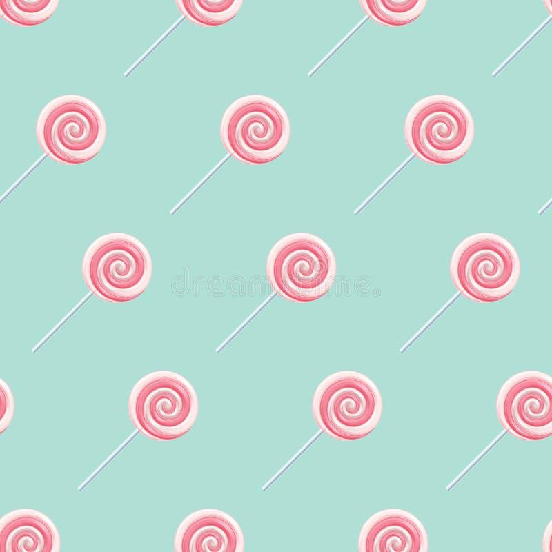 Różowi kremowi lizak spirali cukierki bezszwowi royalty ilustracja
