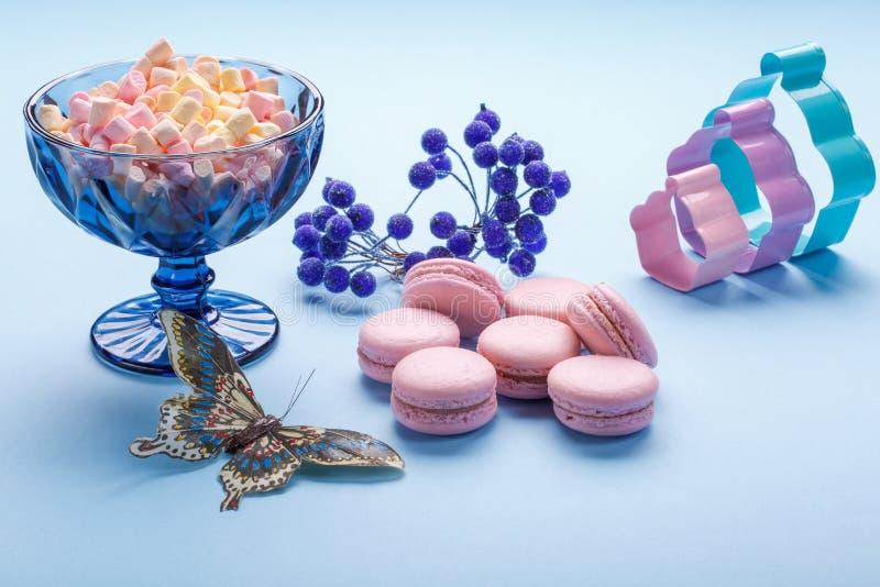 Różowi Macaroons zasychają z kolorowymi puszystymi marshmallows w błękitnej wazie zdjęcie royalty free