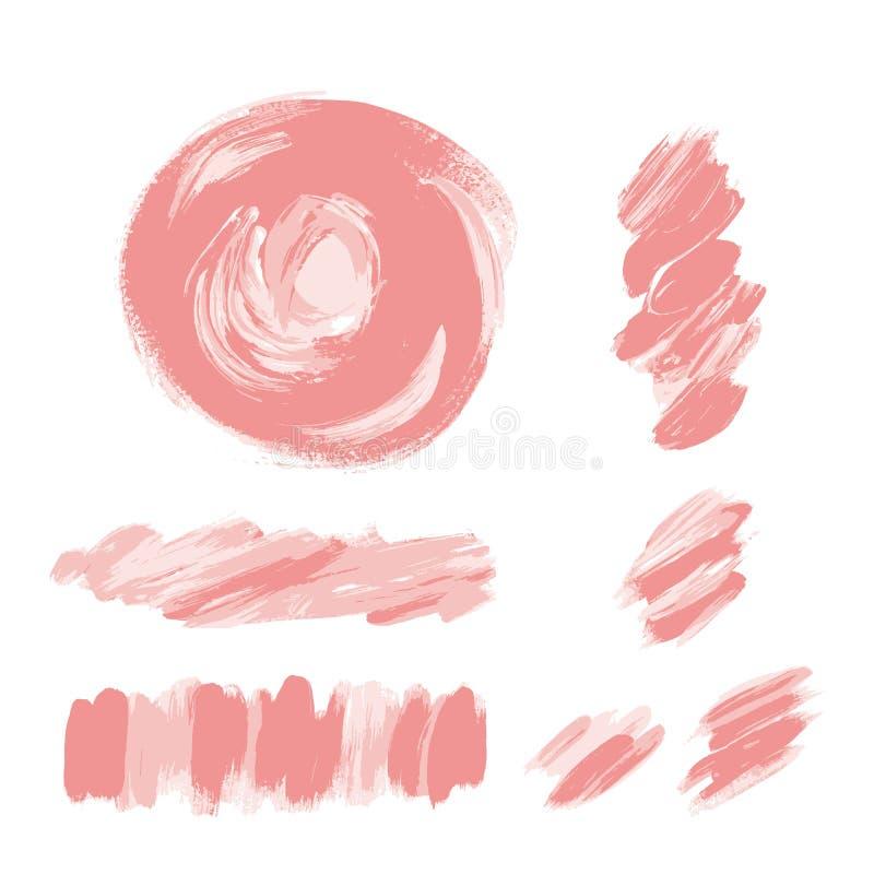 Różowi muśnięć uderzenia ustawiający Jasnoróżowej, starej róży akrylowa tekstura, royalty ilustracja
