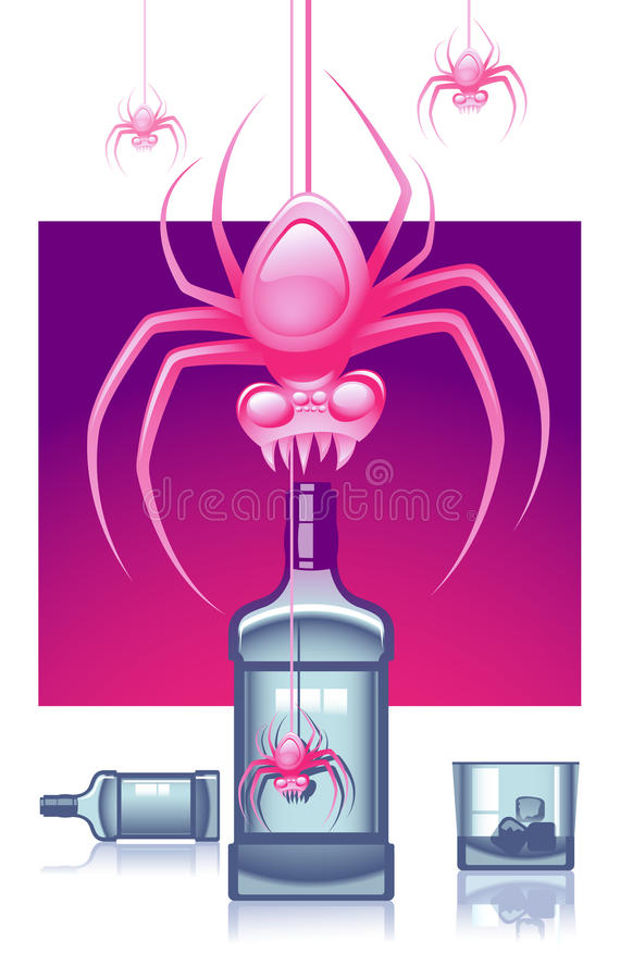 różowi pająki royalty ilustracja