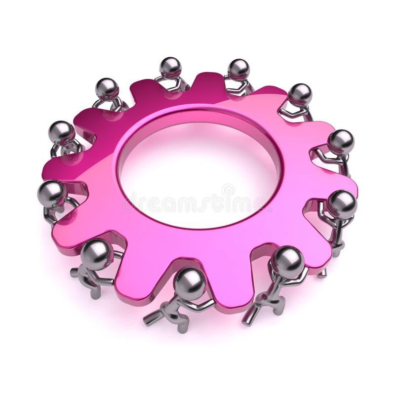 Różowi przekładni koła pracy zespołowej charaktery, cogwheel biznesu ikona royalty ilustracja