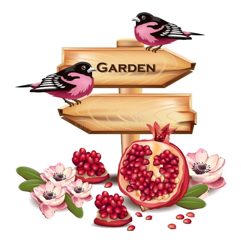 Różowi ptaki na drewno znaku miejsce tekst Owoc wystroju wektor Realistyczne szczegółowe ilustracje ilustracja wektor