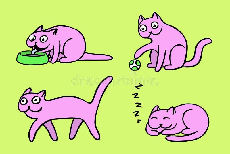 Różowi pussycat emoticons ustawiający Odosobniona wektorowa ilustracja ilustracja wektor