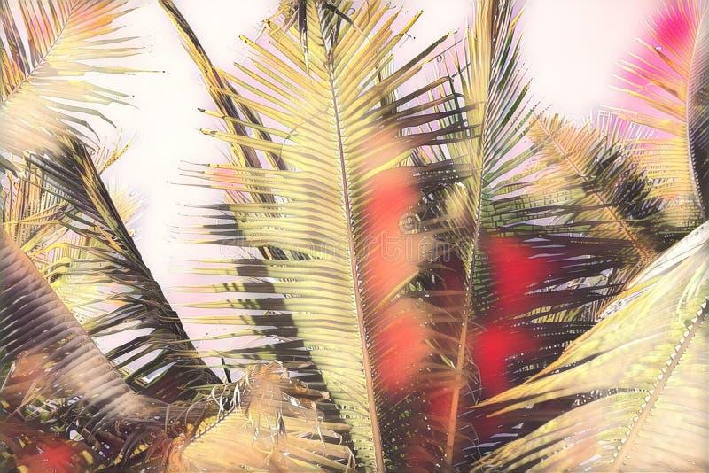 Różowi stonowanego coco palmowego liść na nieba tle Tropikalnej natury cyfrowa ilustracja Egzotyczny wyspa krajobraz ilustracji