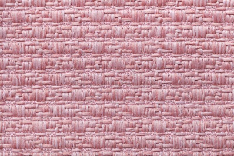 Różowi trykotowego woolen tło z wzorem miękka część, wełnisty płótno Tekstura tekstylny zbliżenie obraz royalty free