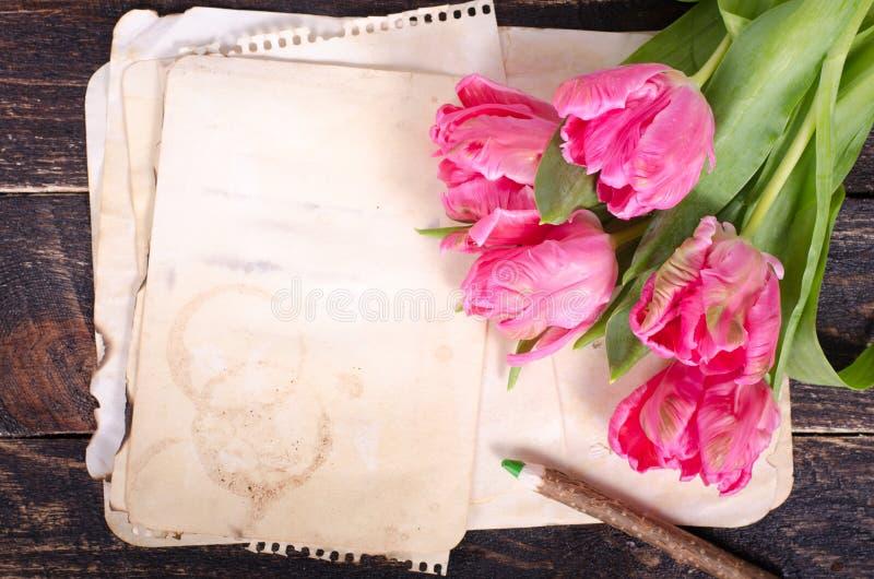 Różowi tulipany i rocznik tapetują, ołówek na drewnianym tle Uwalnia przestrzeń dla twój teksta zdjęcie stock