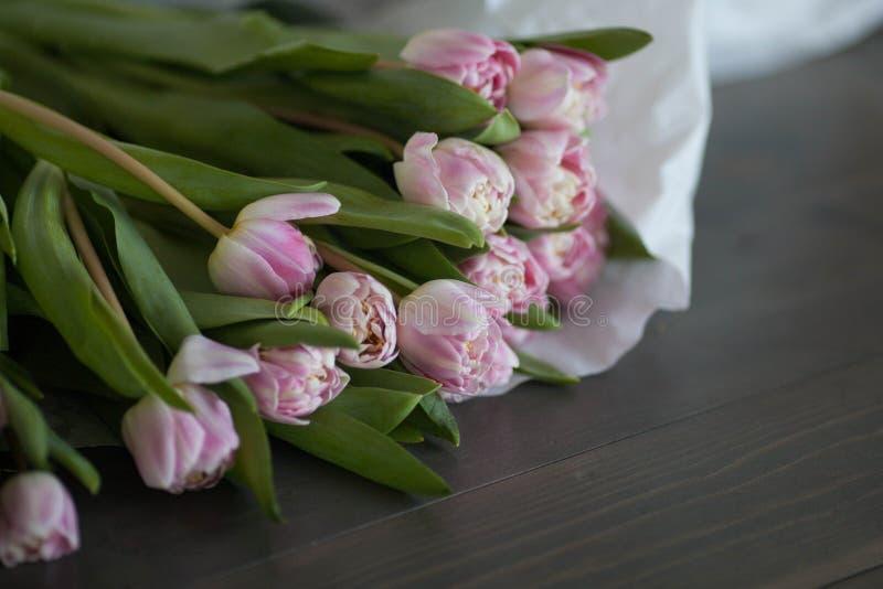 Różowi tulipany na ciemnym drewnianym tle zdjęcie stock