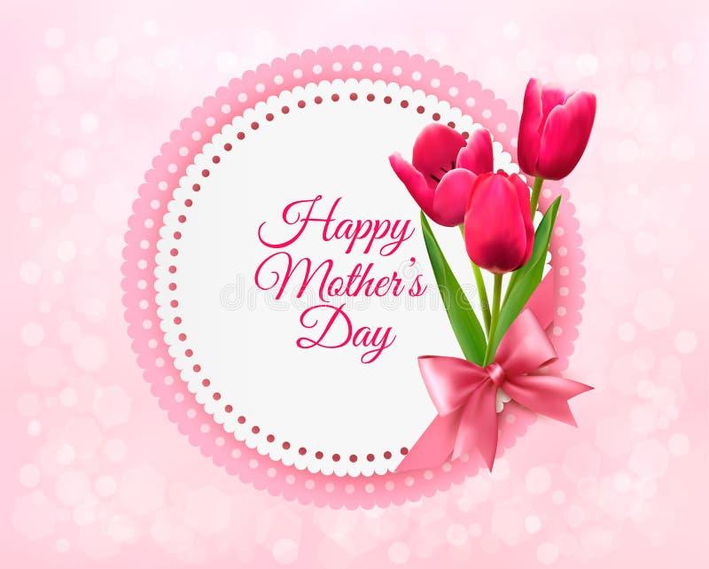Różowi tulipany z Szczęśliwą matka dnia prezenta kartą ilustracja wektor