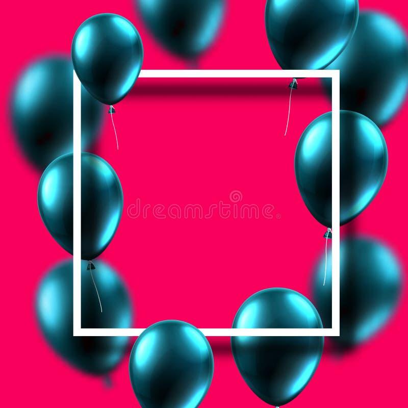 Różowy świąteczny tło z kwadrat ramą i błękitnym błyszczącym balonem ilustracja wektor