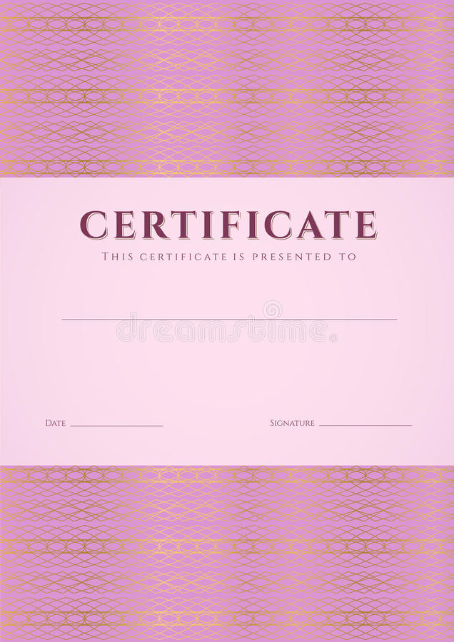 Różowy świadectwo, dyplomu szablon. Wzór ilustracja wektor