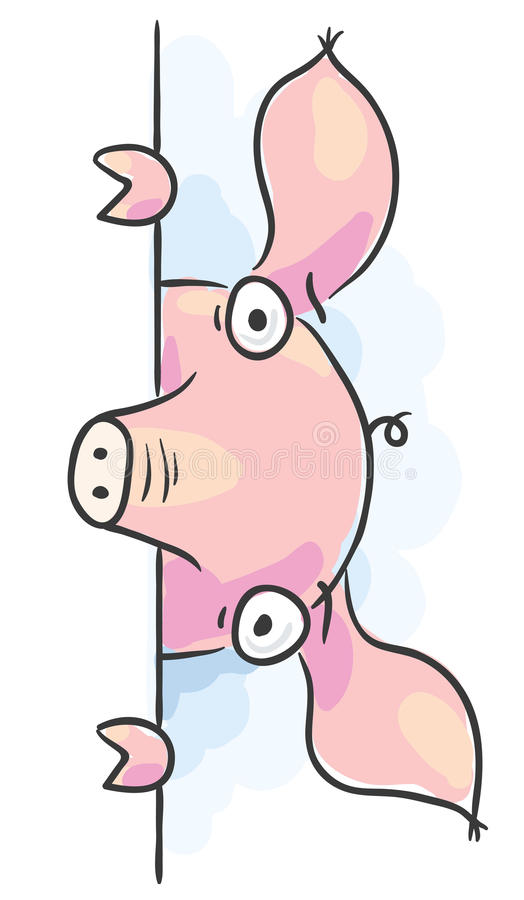 Różowy świniowaty podpatrywać out ilustracja wektor