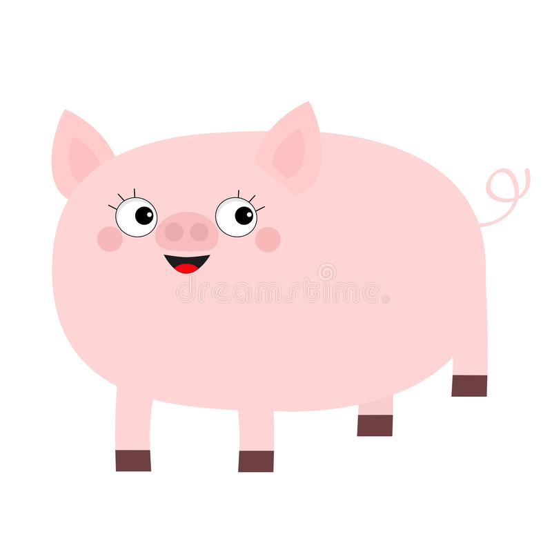 Różowy świniowaty zwierzę uśmiechnięta twarz Ślicznej kreskówki dziecka śmieszny charakter Wieprz chlewni locha Oczy z rzęsami Ch ilustracji