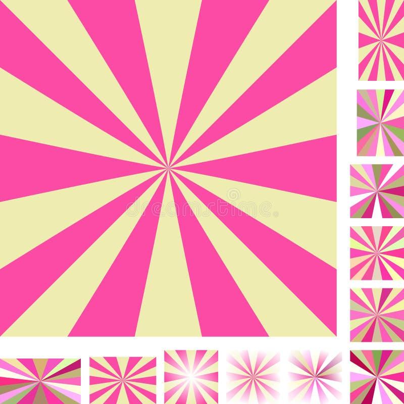Różowy żółty promienia wybuchu tła set ilustracja wektor