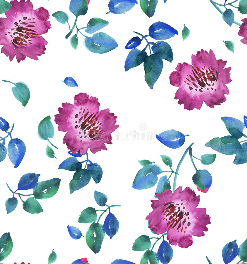 Różowy żywy abstrakt kwitnie bezszwowego wzór royalty ilustracja