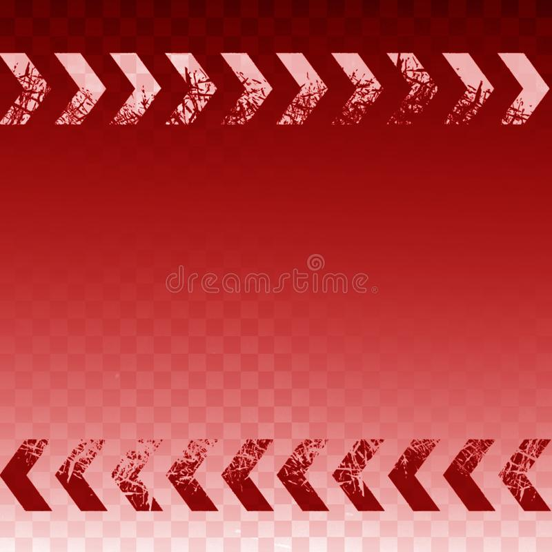 Różowy abstrakcjonistyczny prawej strzały znak z film adry grunge czerwieni i tekstury tłem ilustracja wektor