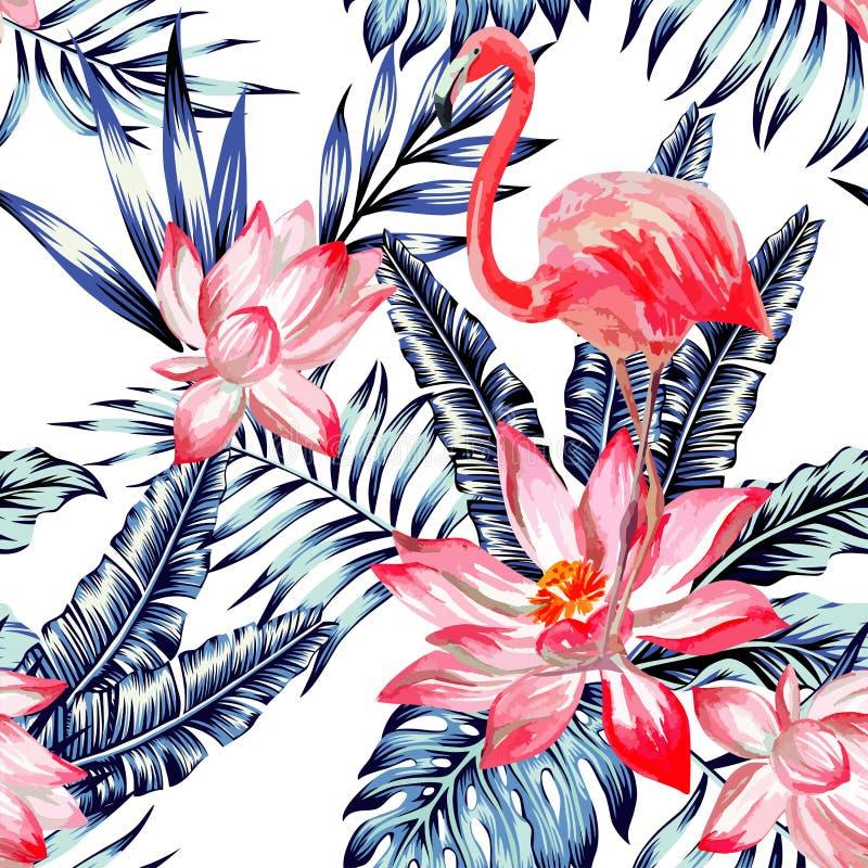 Różowy akwarela flaming i błękitnych palmowych liści tropikalny bezszwowy royalty ilustracja