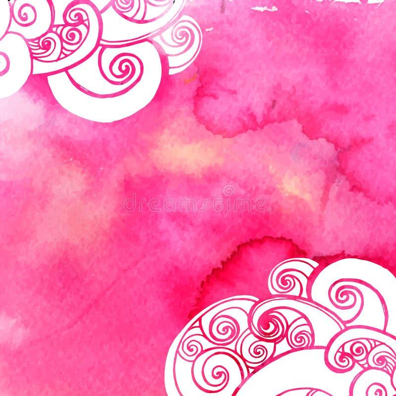 Różowy akwareli farby tło z doodles ilustracji