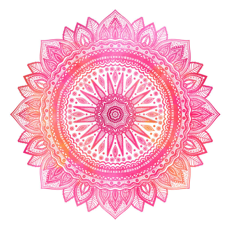 Różowy akwareli mandala, indyjski motyw Ozdobny round ornament ilustracji