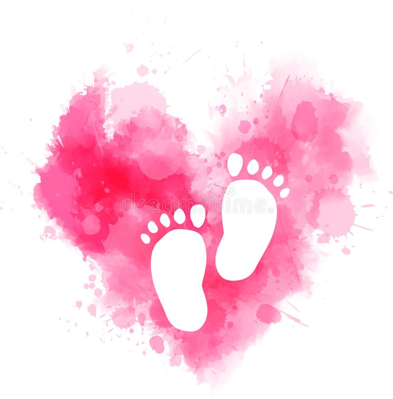 Różowy akwareli serce z dziecko odciskami stopymi ilustracji