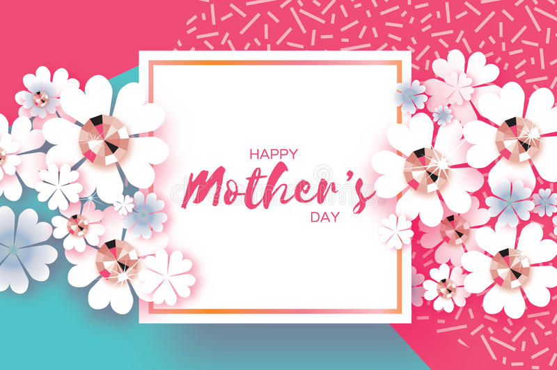 Różowy Błękitny Szczęśliwy matka dzień Genialni kamienie Papieru rżnięty kwiat Kwadratowa rama ilustracji