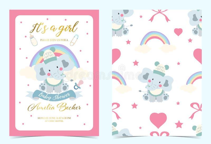Różowy błękitny urodzinowy zaproszenie z pacyfikatorem, butelką, mlekiem, płótnem, sercem i słoniem, royalty ilustracja