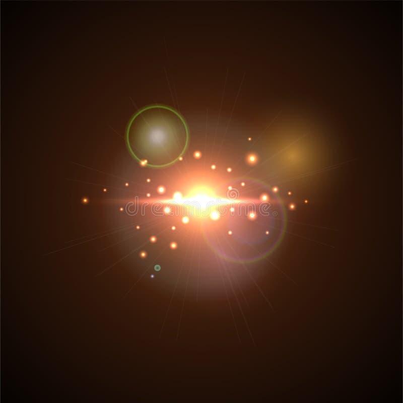Różowy błysk z promieniami i światłem reflektorów Realistyczny lekki świecenie, wysoki loth, gwiazdy łuna Obiektywu racy skutek n royalty ilustracja