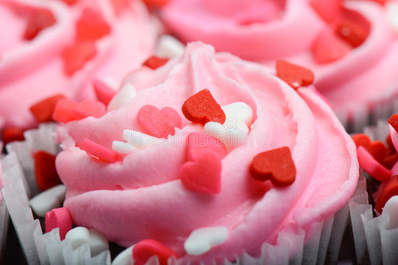 Różowy babeczki zakończenie Up zdjęcia stock