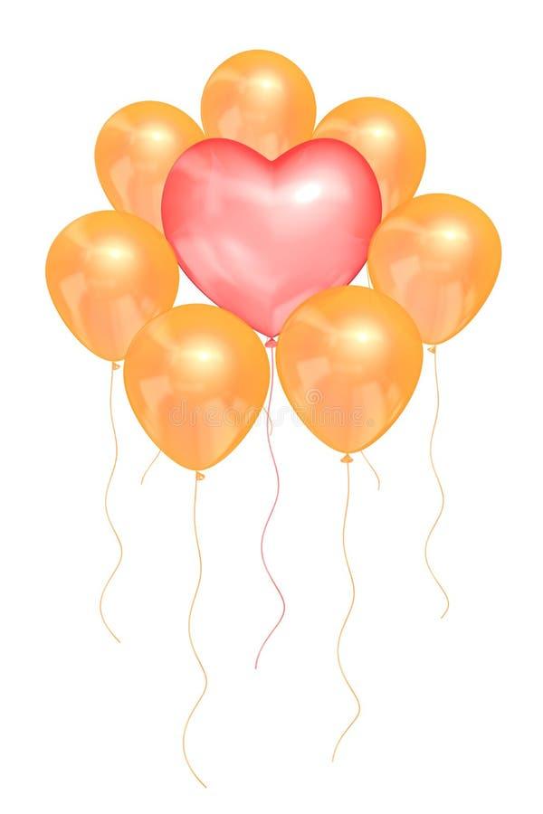 Różowy balon w formie serca otaczającego złotymi balonami na białym odosobnionym tle royalty ilustracja