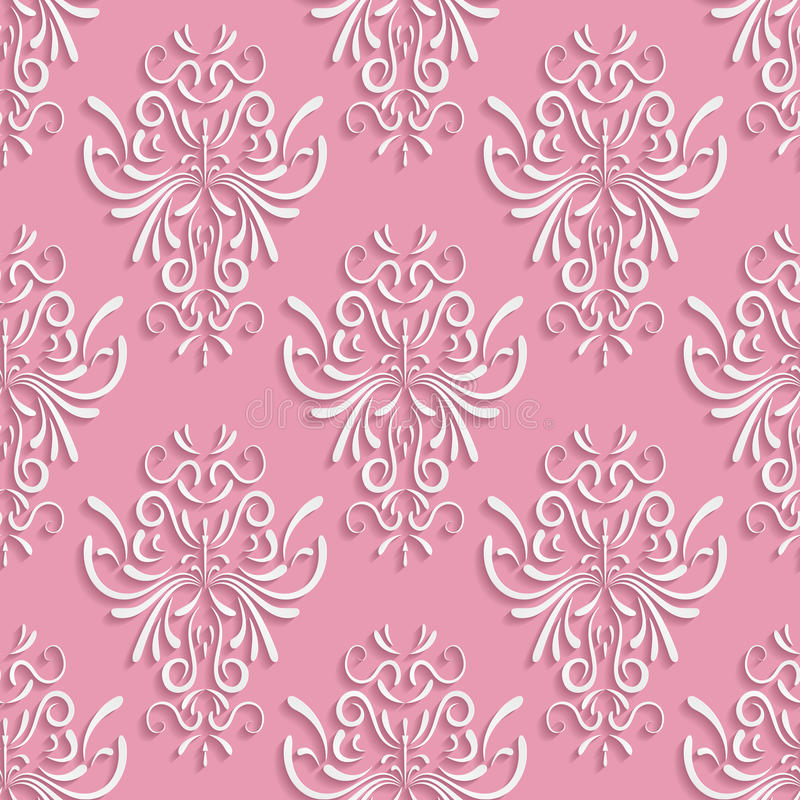 Różowy Bezszwowy tło z 3d Kwiecistym wzorem ilustracji