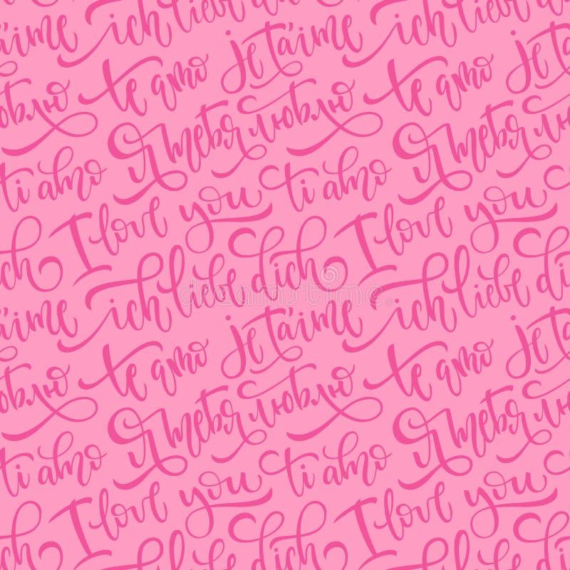 Różowy bezszwowy wektoru wzór z zwrotami kocham ciebie w kilka językach Słowa w Angielskim, Rosyjskim, Hiszpańskim, Włoskim, fran ilustracja wektor