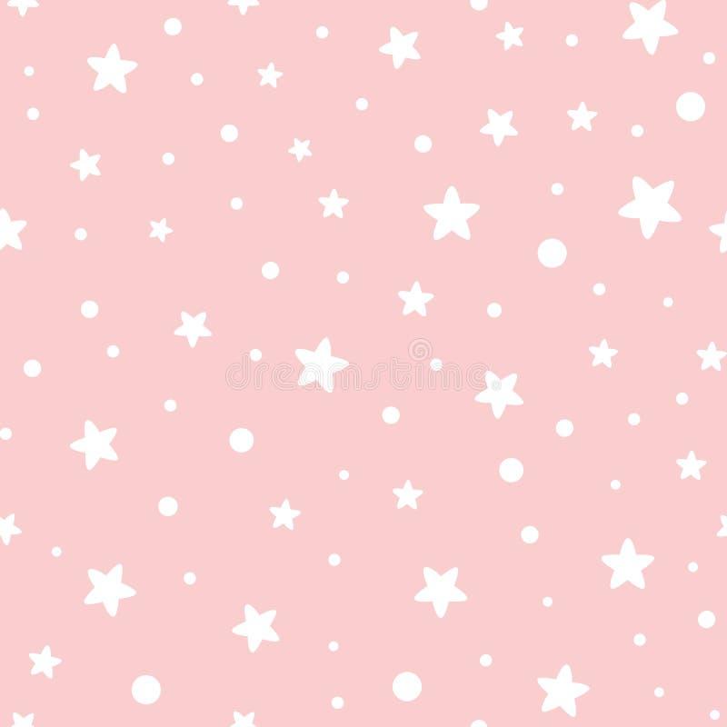 Różowy bezszwowy wzór gra główna rolę geometrycznego różowego ornamentacyjnego tła dziecka prysznic dziewczyny słodkiego tło ilustracji