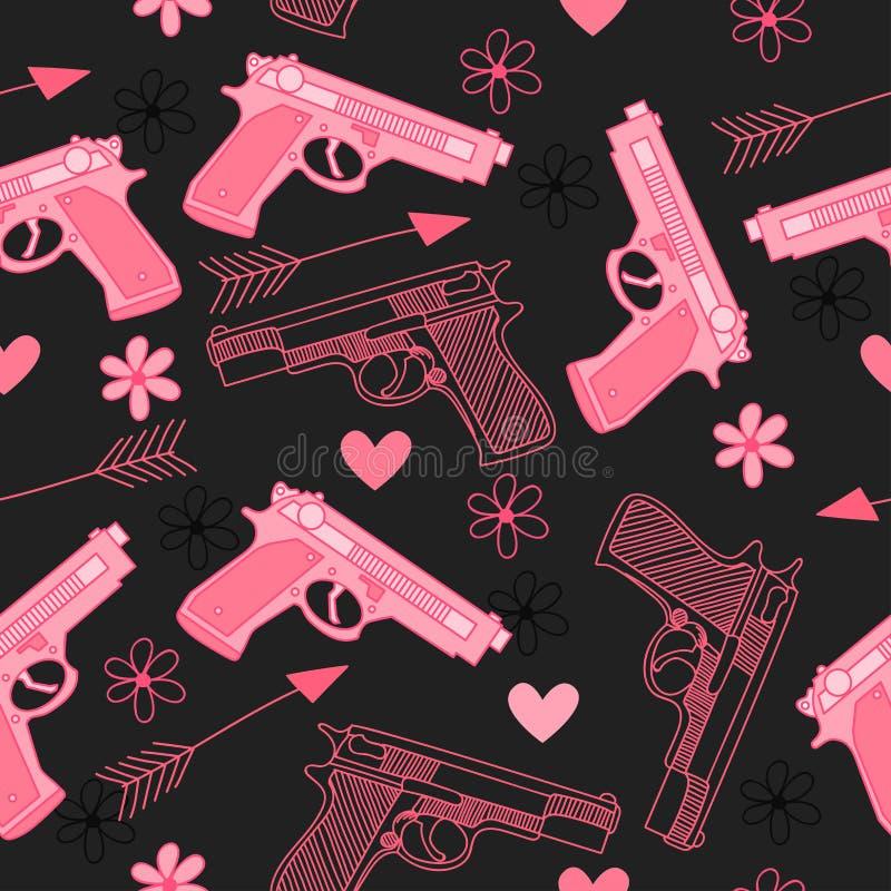 Różowy bezszwowy wzór z pistoletami, miłością, strzała, sercami i kwiatami, ilustracja wektor