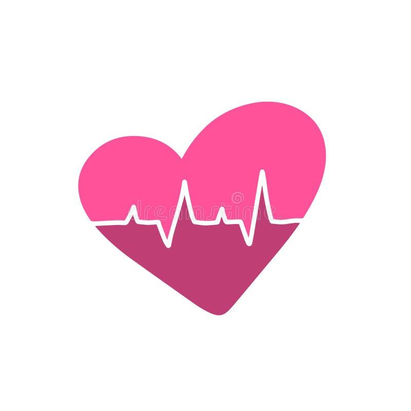 Różowy bicie serca monitoru pulsu kreskowej sztuki logo Śliczny studenta medycynego ciśnienie krwi, kardiogram, zdrowie EKG, ECG  royalty ilustracja