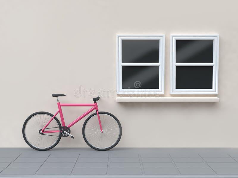 Różowy bicykl na ulicy i ściany okno budować 3d odpłaca się royalty ilustracja