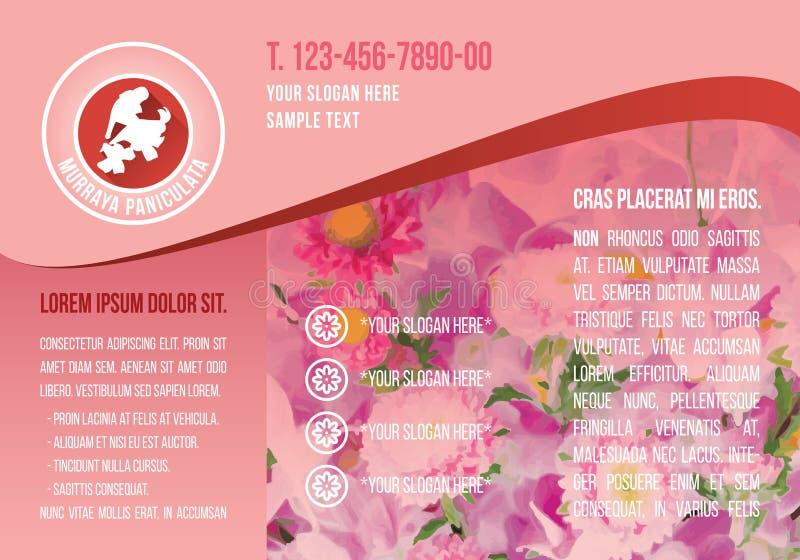 Różowy A4 broszurki szablon, czerwony kwiatu logo z demonstracja tekstem, kwiecista ikony ulotka, flory textbox purpura kształtuj royalty ilustracja