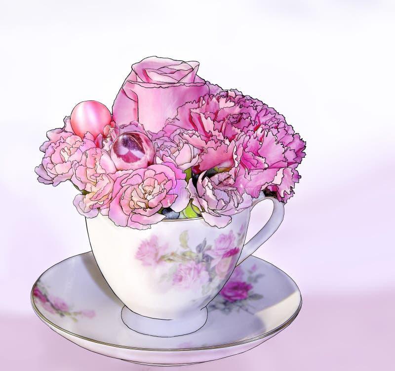 różowy bukiet filiżance ilustracja wektor