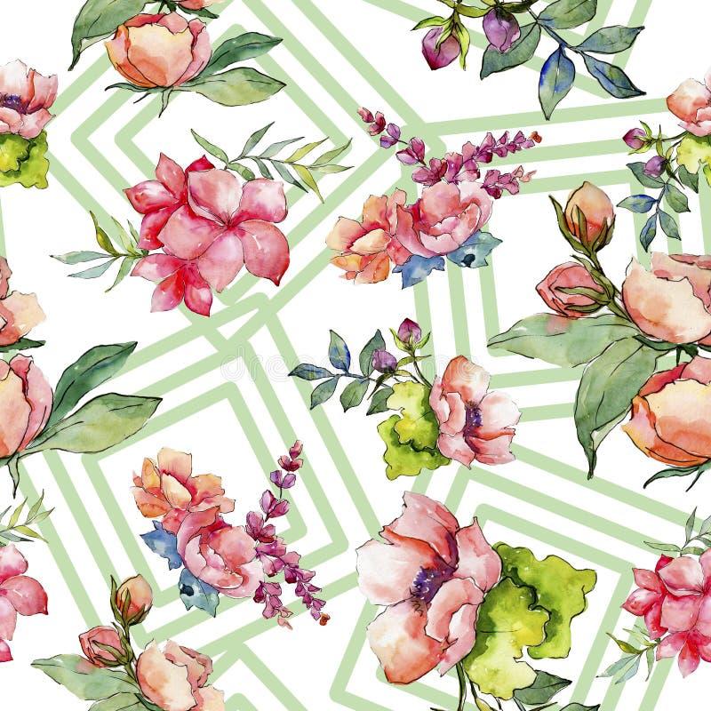 Różowy bukieta wildflower Bezszwowy tło wzór Tkanina druku tapetowa tekstura royalty ilustracja