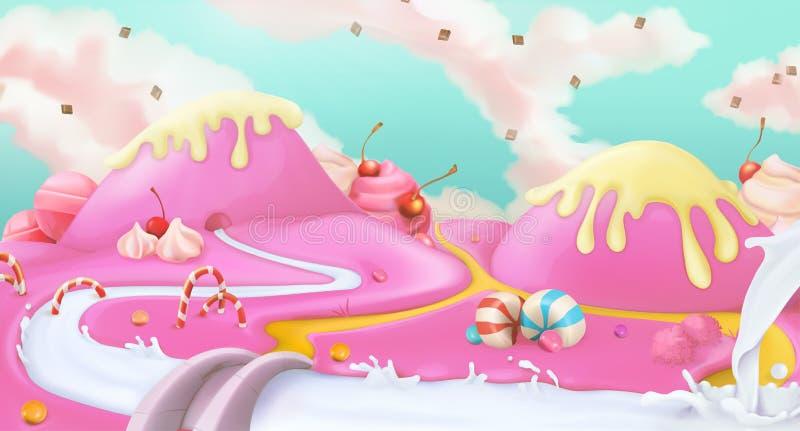 Różowy cukierki krajobrazu tło ilustracji