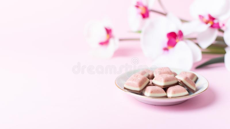 Różowy czekoladowy bar i kwiat na różowym tle Rubinowa nowa czekolada Nowy różowy słodki deser zdjęcie royalty free