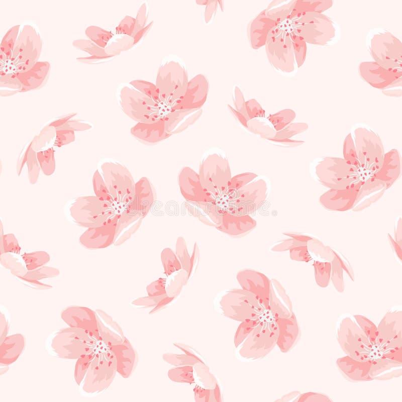 Różowy czereśniowy Sakura wiosny kwiatów japoński wzór ilustracja wektor